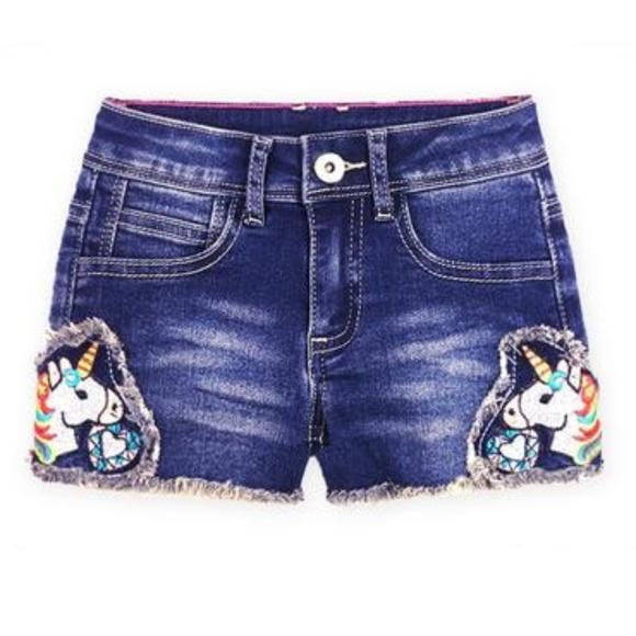 02608e44ef Bottoms | Girls Unicorn Patch Dark Blue Jean Shorts | Poshmark